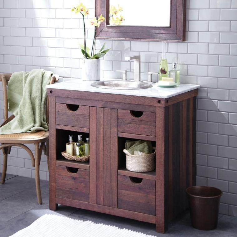 arredo rustico bagno mobile legno