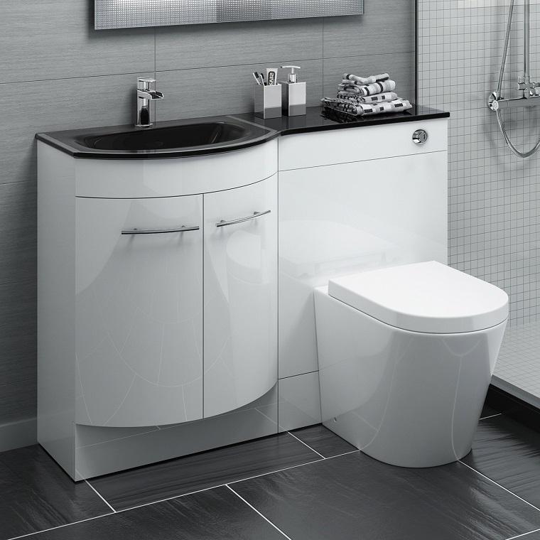bagni piccoli moderni vanity bianco laccato