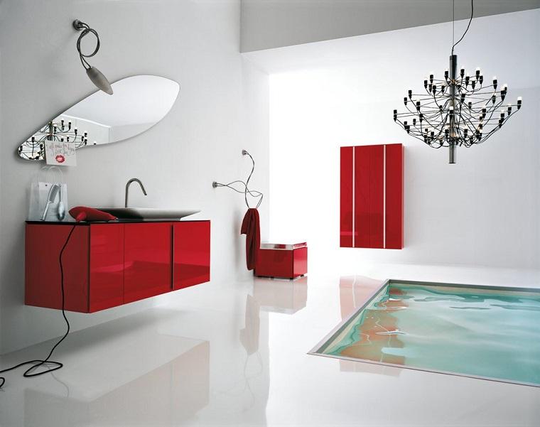 bagno alcuni accenti colore rosso design