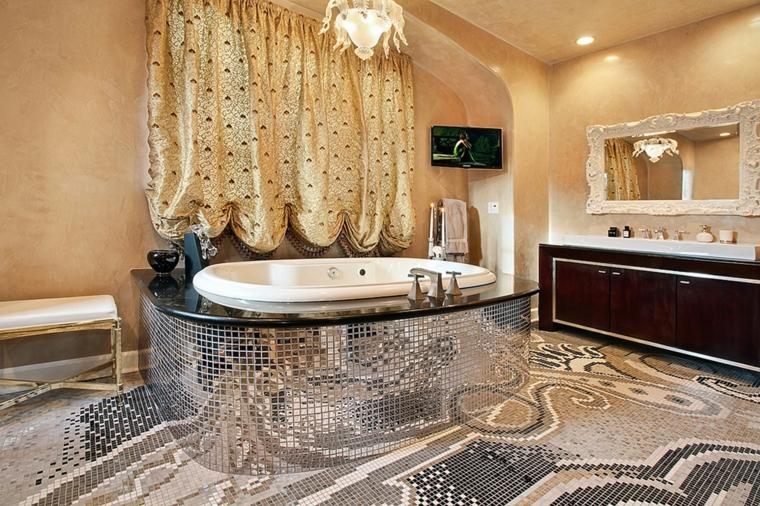 bagno con mosaico idea moderna originale chic