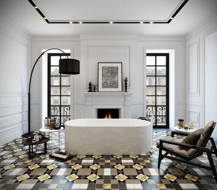 bagno design pavimento particolare camino