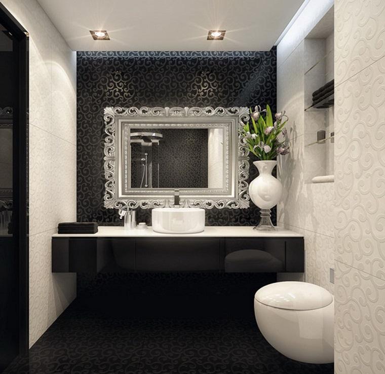 bagno elegante composizione bianco nero grande specchio
