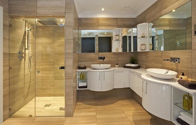bagno elegante grande vanity doccia