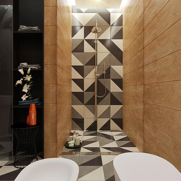 bagno moderno accento particolare pareti
