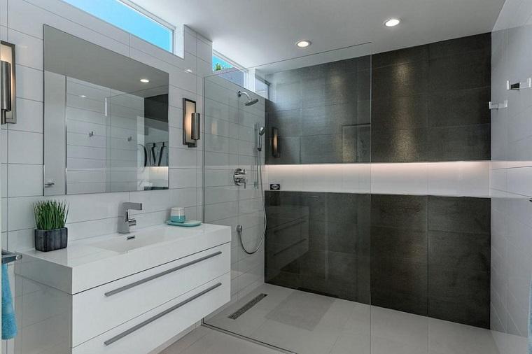 Bagno moderno 100 idee e soluzioni di design per un ambiente confortevole - Bagno moderno con doccia ...