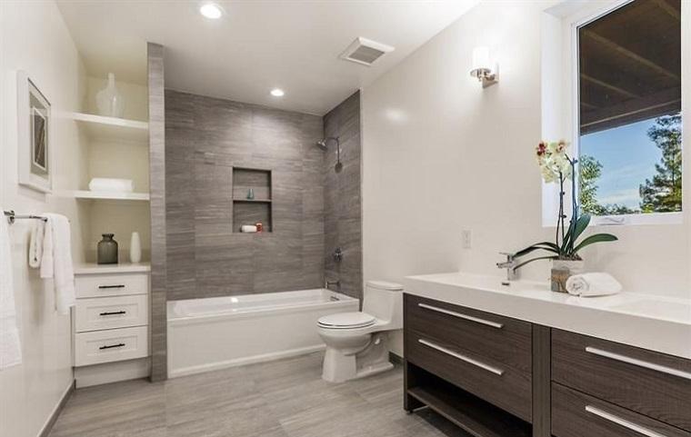 bagno moderno mobile colore grigio legno