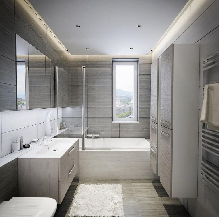 bagno moderno mobile sospeso due armadi parete