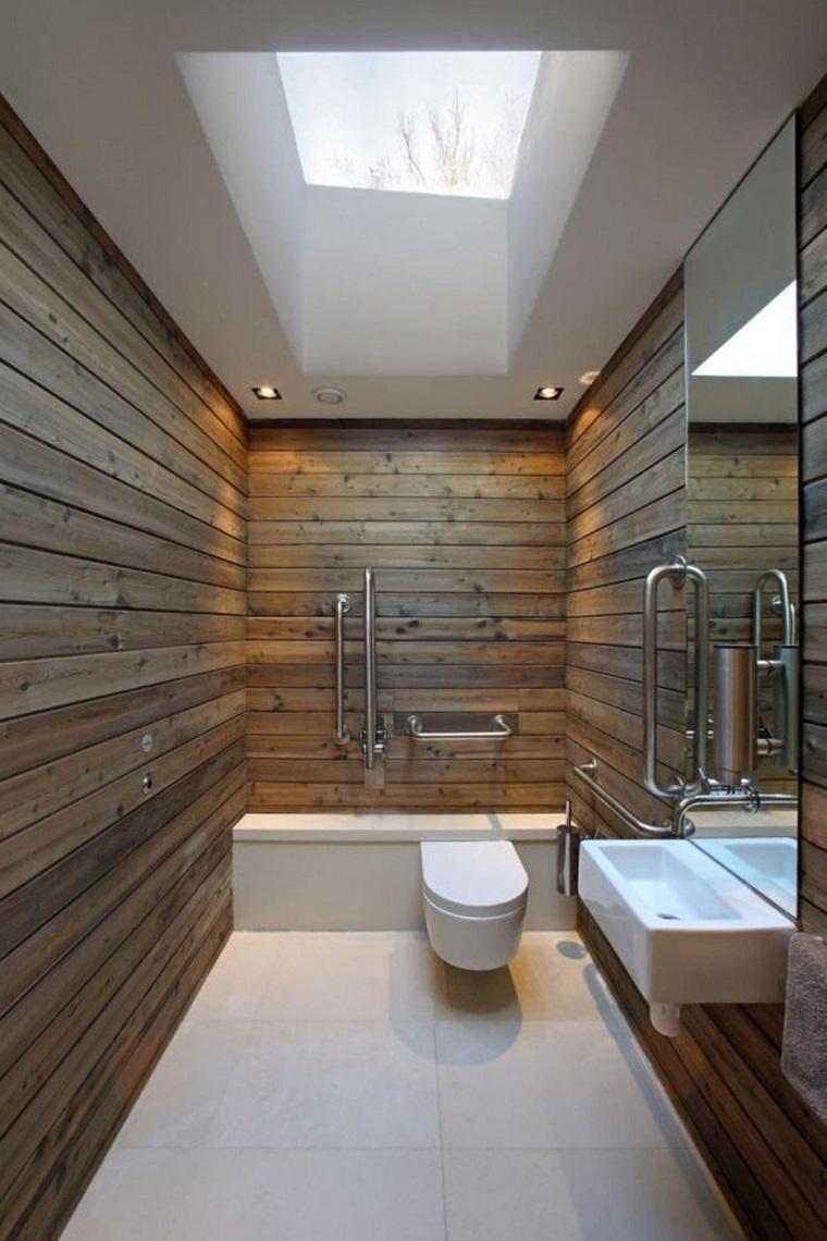 bagno moderno piccolo pareti legno