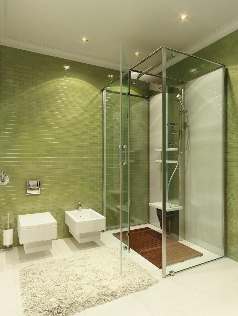bagno moderno piccolo piastrelle verdi