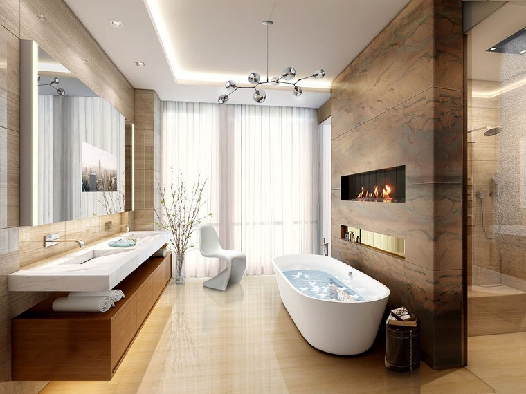 bagno moderno vasca camino parete