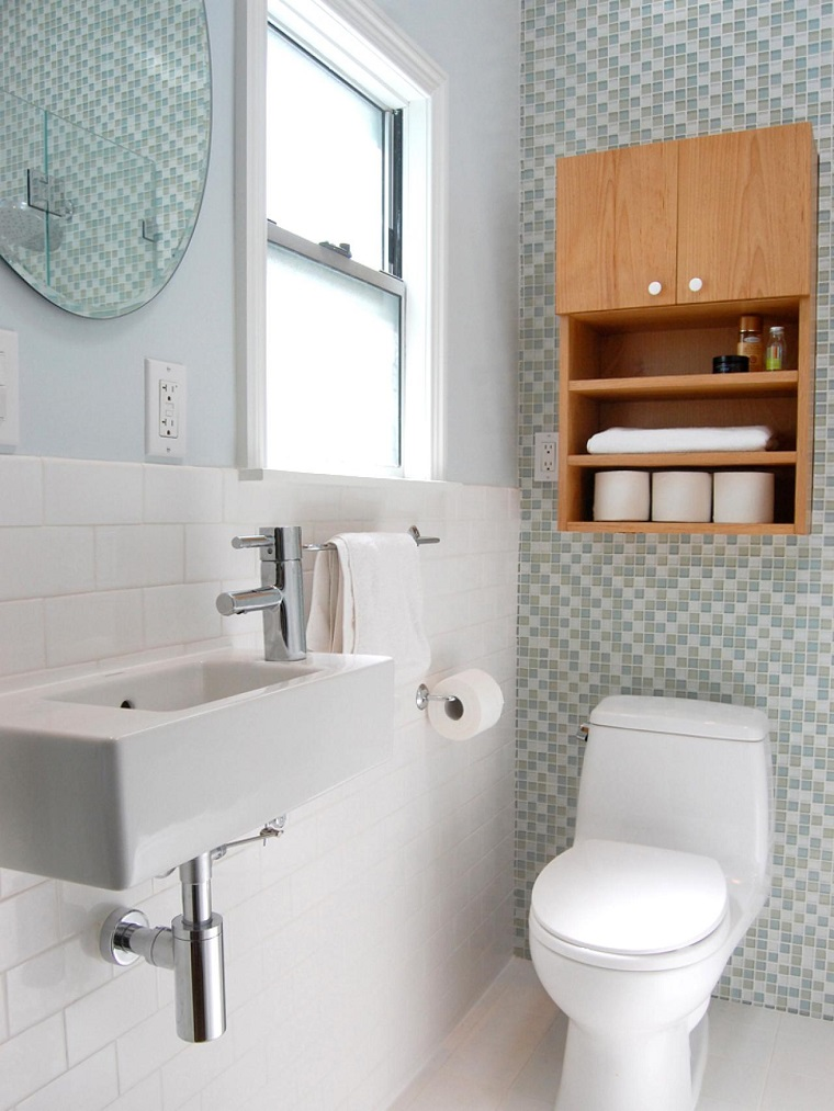 bagno piccolo moderno mobiletto asciugamani