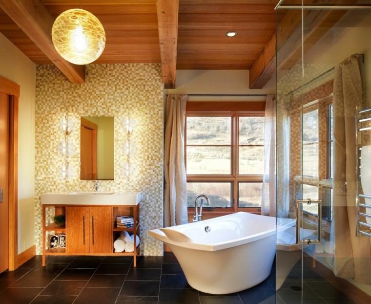 bagno rustico mobile legno lavabo ceramica
