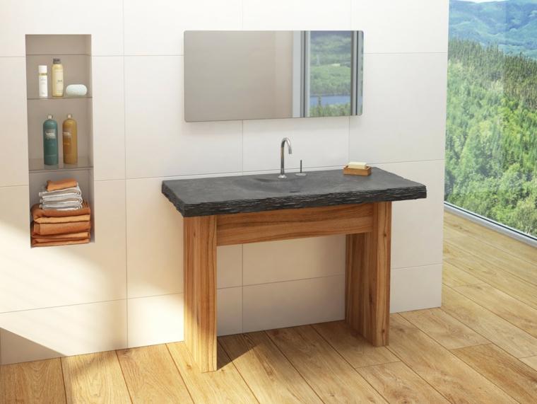 bagno rustico mobile stile minimal legno