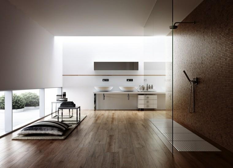 bagno rustico moderno pavimento legno box doccia