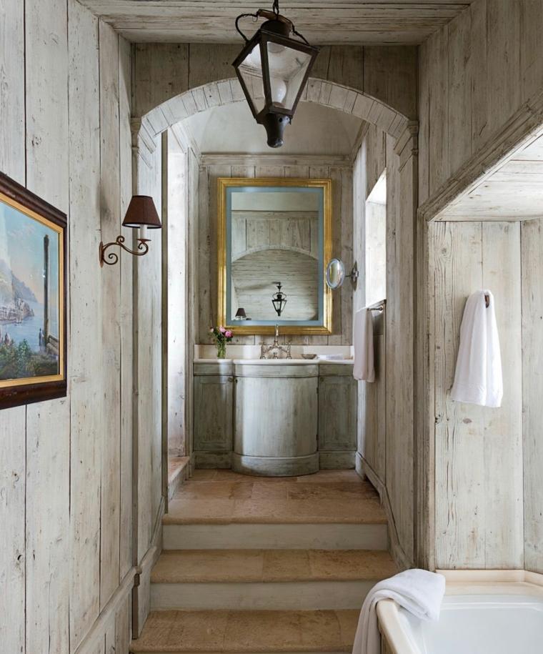 bagno rustico rivestimo legno colore chiaro