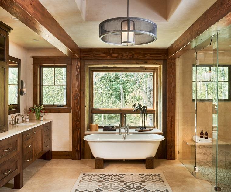 bagno rustico vasca colore bianco freestanding