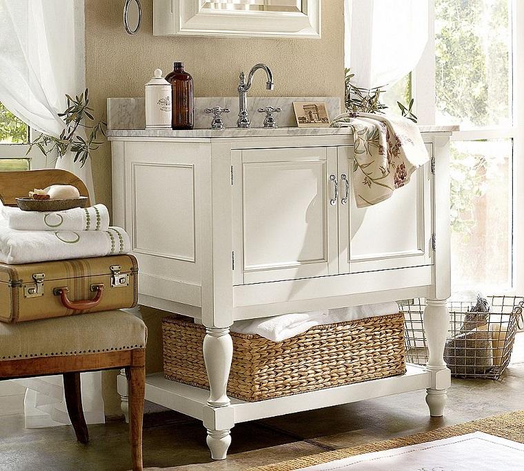 bagno shabby chic mobile legno bianco