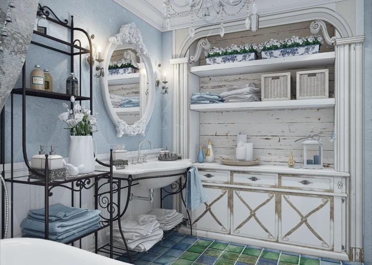 bagno stile provenzale mobile di legno effetto usato pareti dipinte di blu