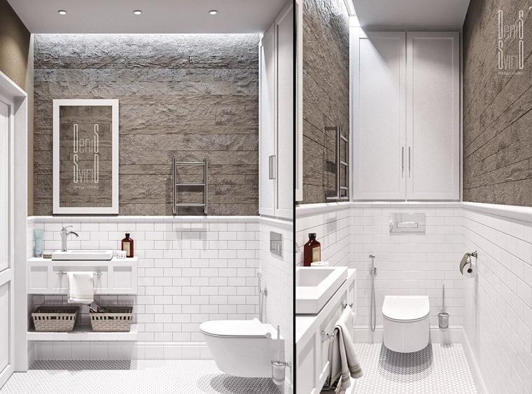 bagno stile provenzale rivestimento pareti con piastrelle bianche illuminazione soffitto con faretti