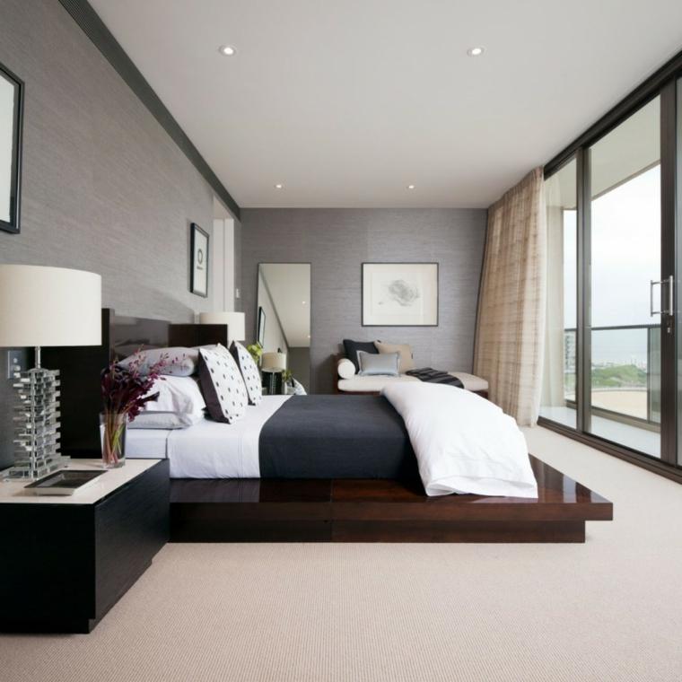 camera da letto arredata decorata stile moderno lampada