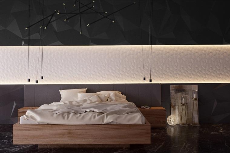camera da letto illuminazione particolare design moderno