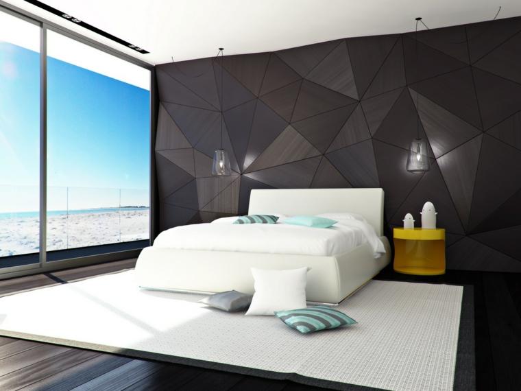 camera da letto parete decorata tappeto bianco comodino