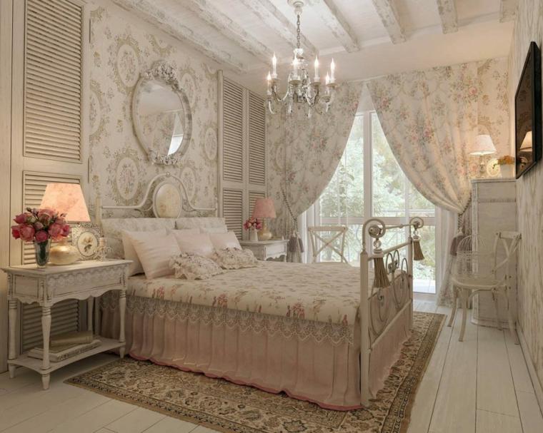 camera da letto pareti rivestite con carta da parati stanza con mobili provenzali