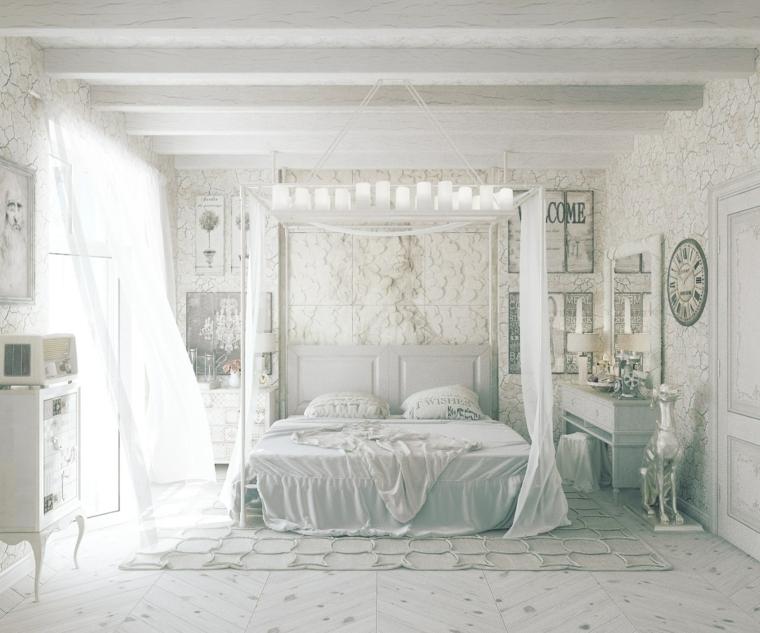 camera da letto provenzale mobili di legno colore verde soffitto con travi di legno