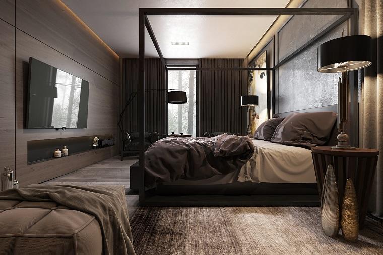 camere da letto moderne idea originale parete legno nicchia decorativa