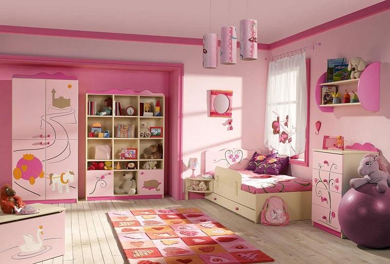 cameretta colore rosa mobili legno