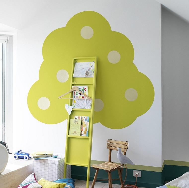cameretta pareti bianche decorazione forma albero verde