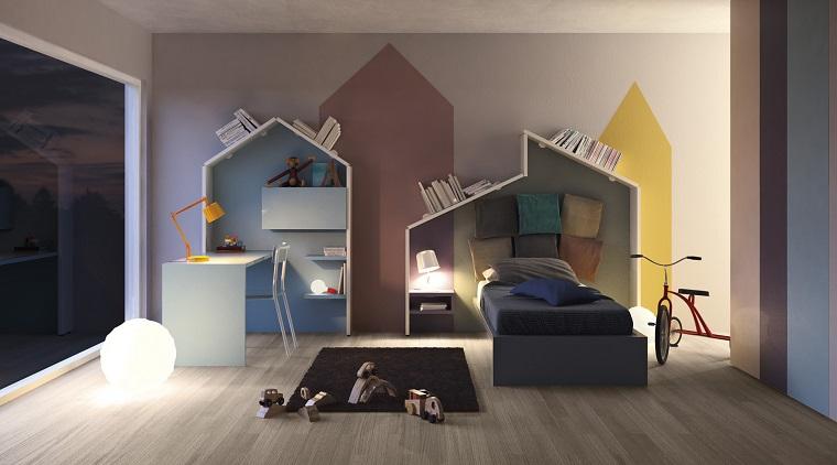 cameretta pareti colorate silhouette pavimento legno tappeto
