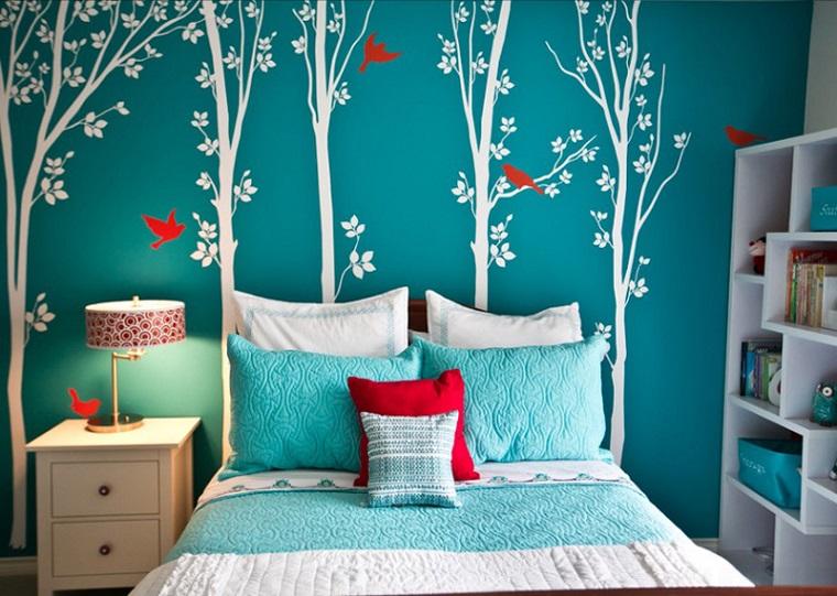 camerette bambini proposta parete blu decorata stile classico