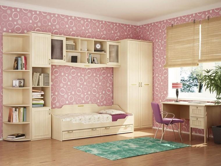 camerette per ragazze moderne mobili legno color crema