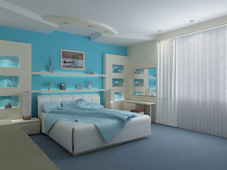 camerette per ragazze pareti blu letto grande soffitto decorato