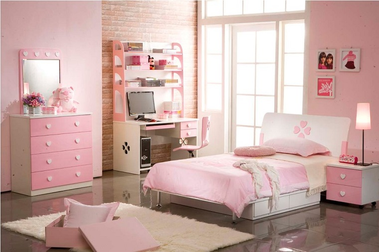 camerette proposta pareti rosa mobili legno