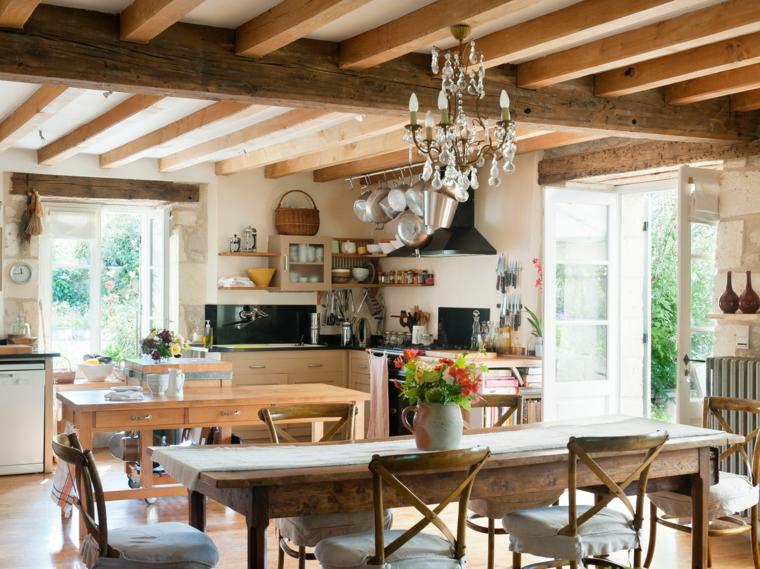 casa stile provenzale tavolo da pranzo in legno cucina open space sala