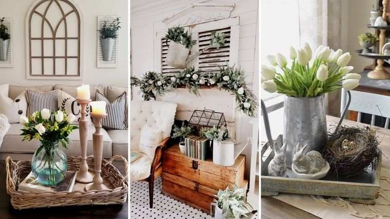 centrotavola di primavera vasi con fiori e candele collage di tre foto pasquali