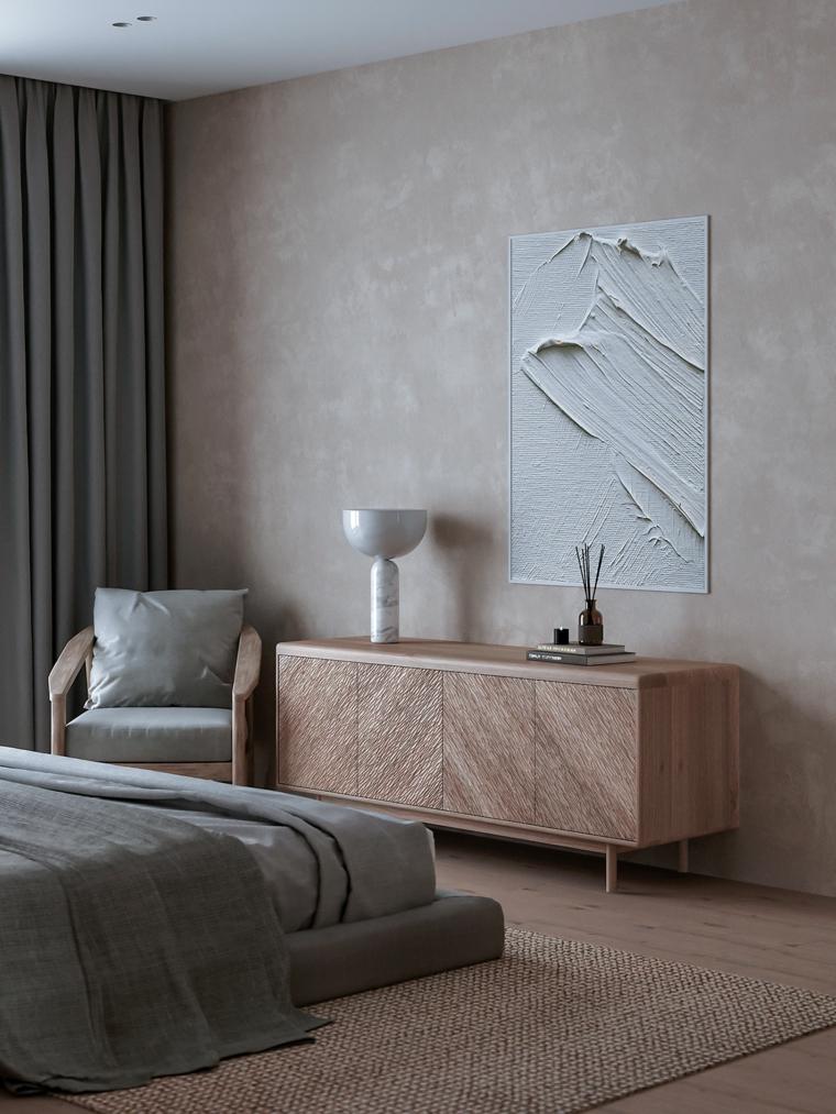 color crema per pareti beige camera da letto mobile poltrona quadro tende grigie