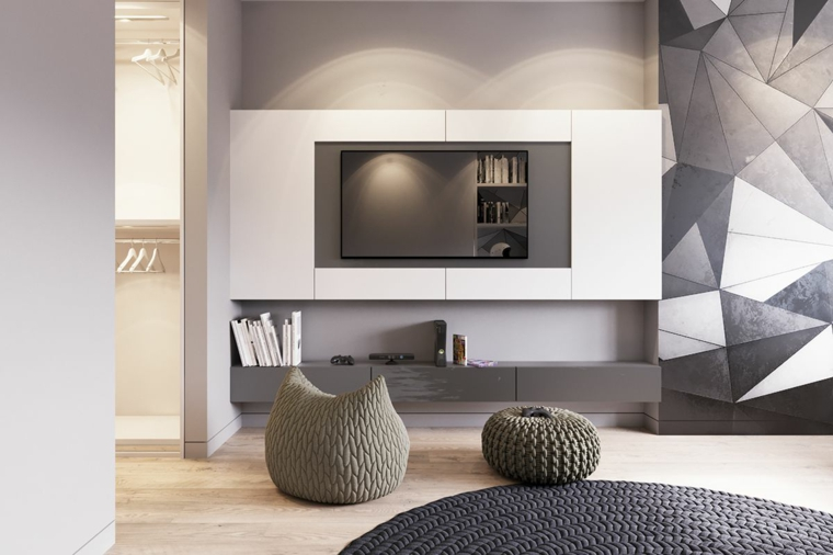 color crema per pareti beige soggiorno divano tv pannelli forme geometriche