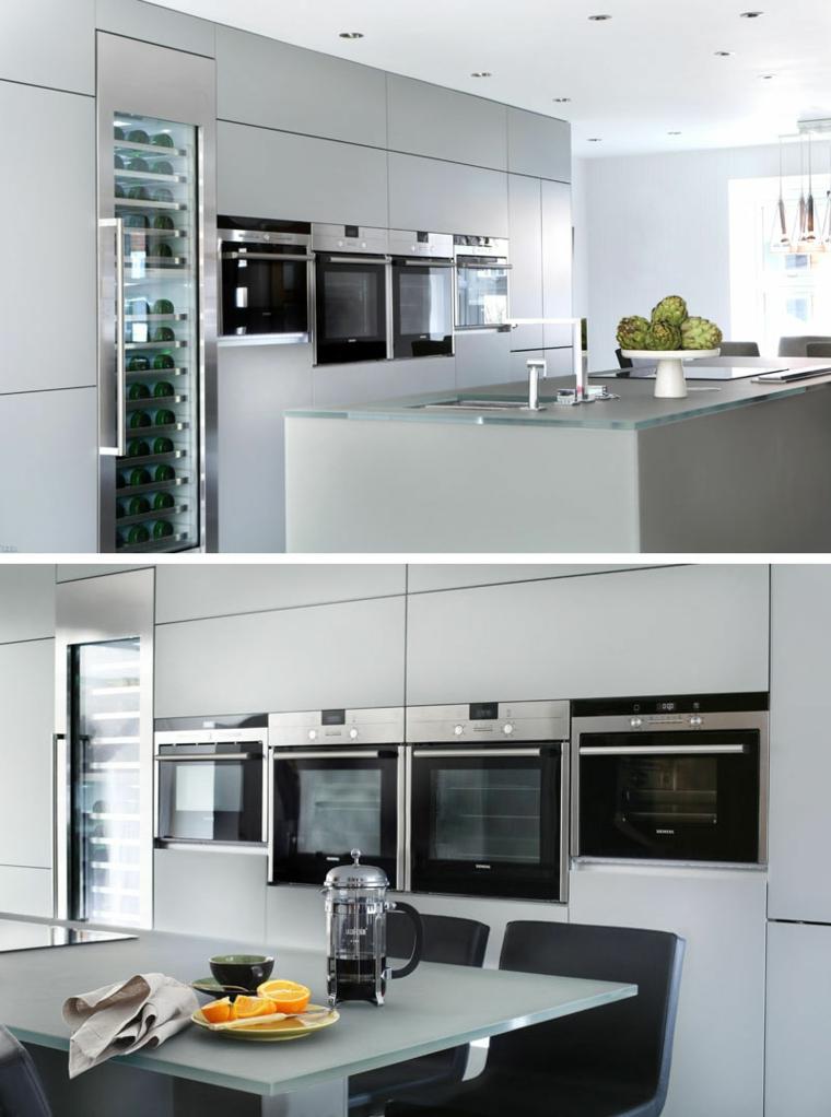Cucine moderne bianche, cucina con isola centrale con lavandino integrato