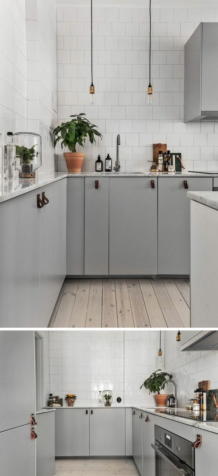 Cucine bicolore, cucina con mobili di colore grigio, cucina con pavimento in legno