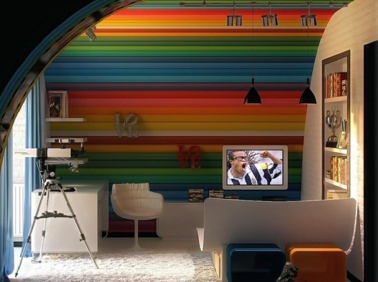 colori camerette idea parete principale molto colorata