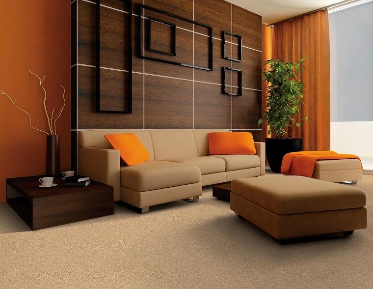 colori parete soggiorno idea elegante arancione