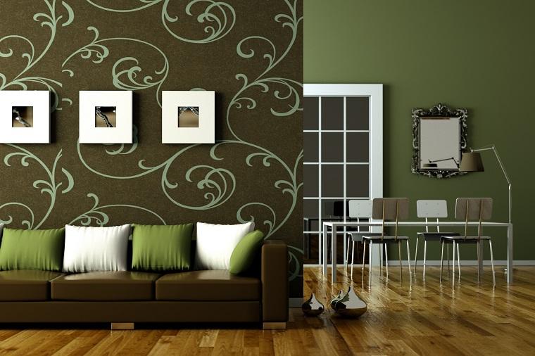 colori parete soggiorno idea elegante verde