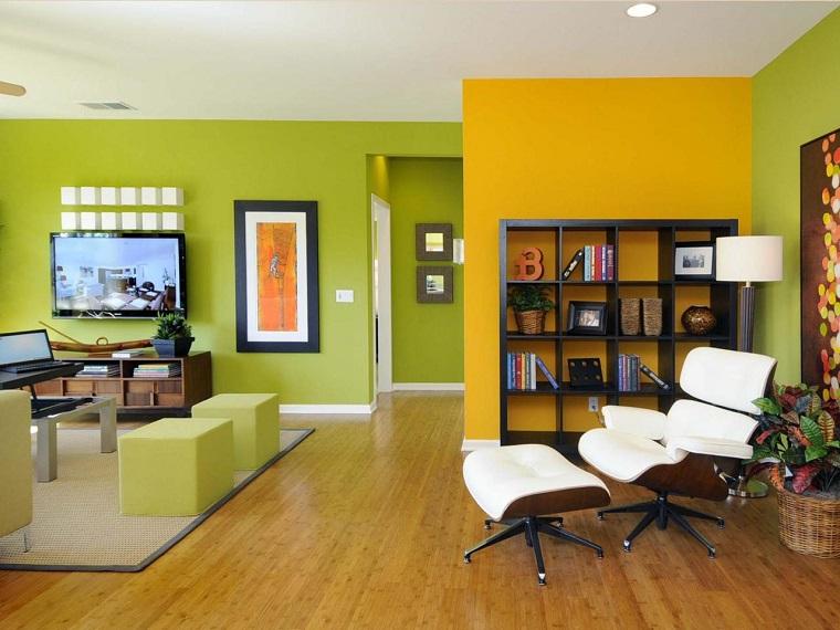 colori parete soggiorno verdi gialle