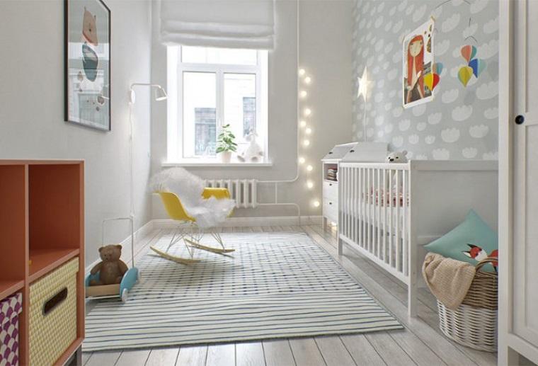 colori pareti camerette stile scandinavo chiaro