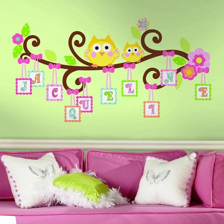 colori pareti camerette verde stickers gufi lettere