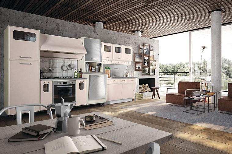 come arredare cucina stile vintage pavimento legno