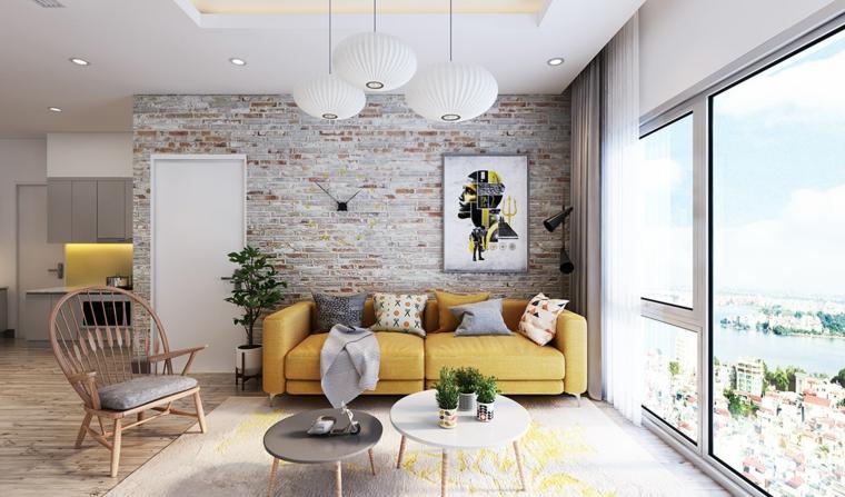come arredare un salotto accenti colore giallo